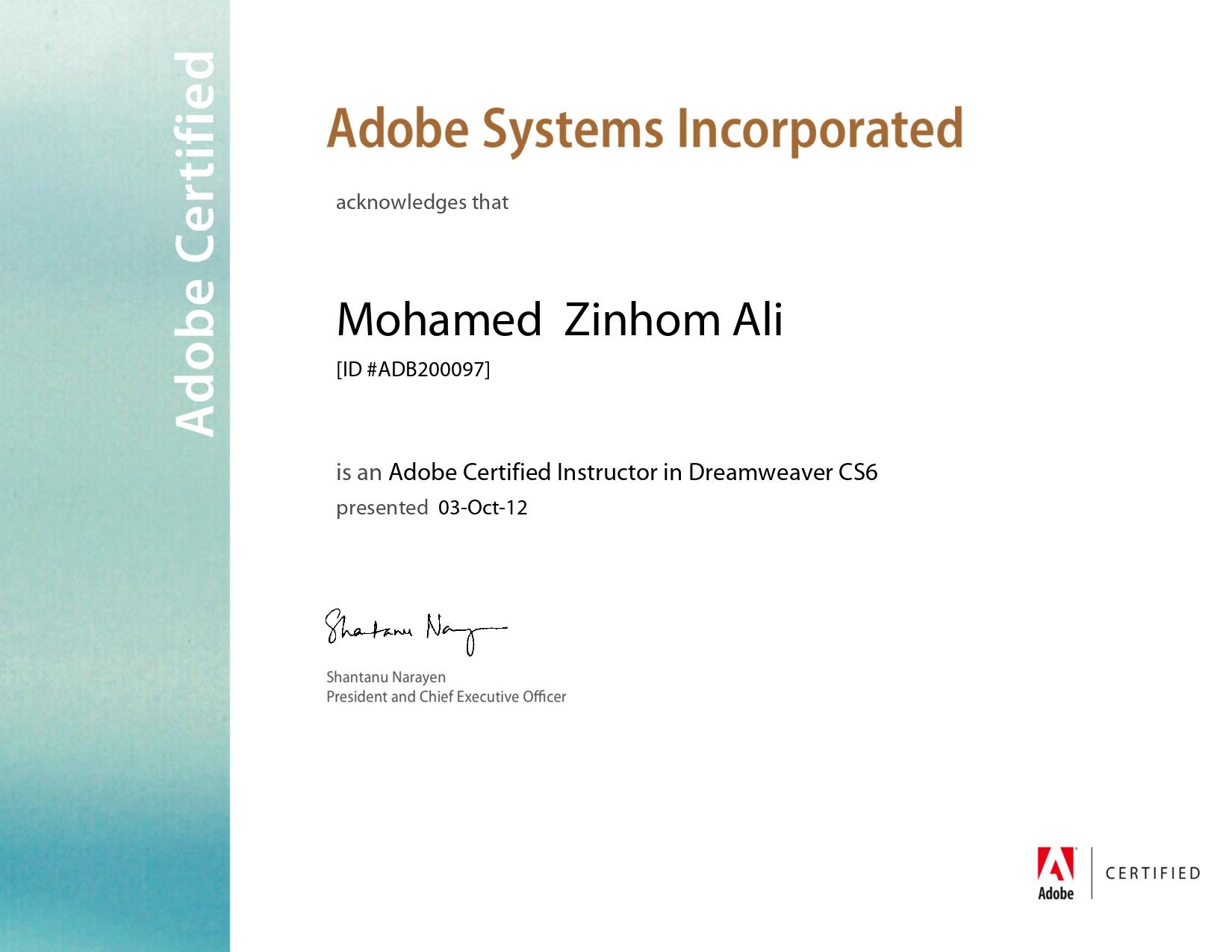Adobe Certified Instructor Dreamweaver CS6