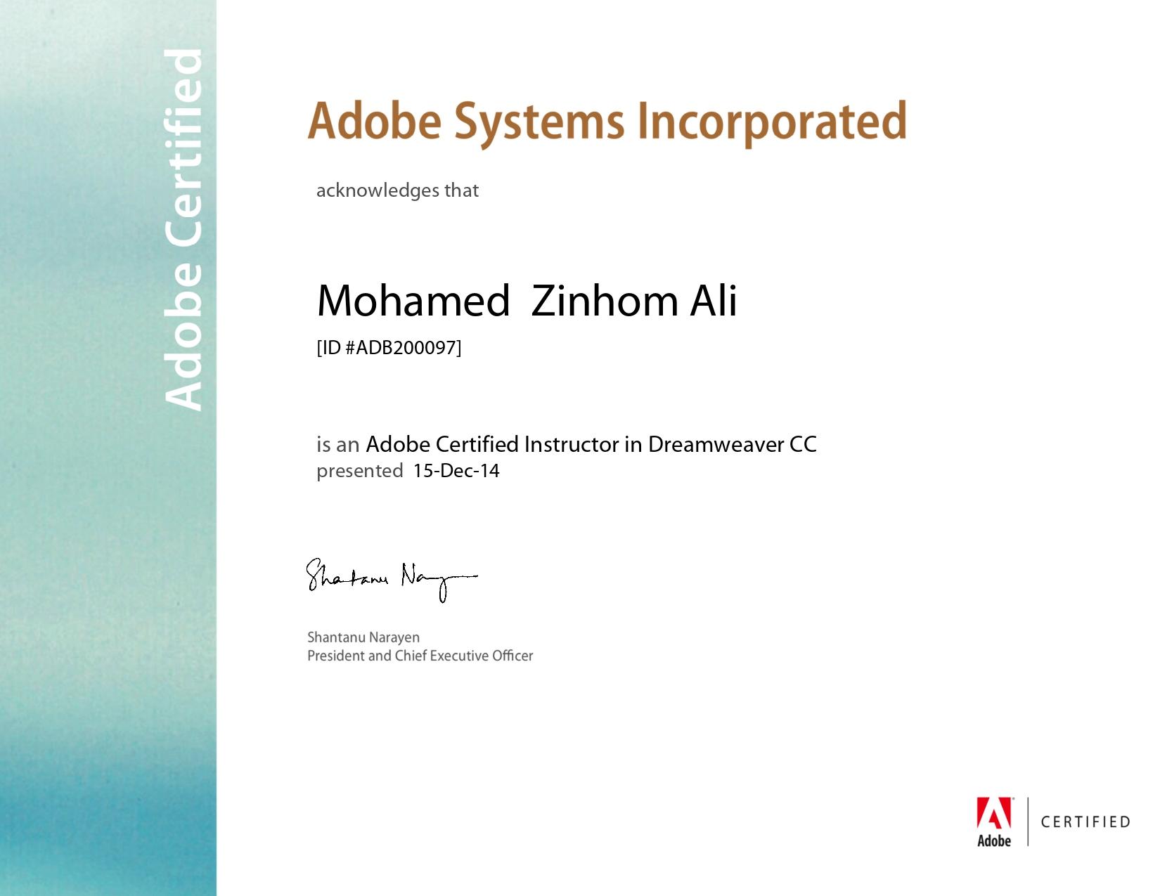 Adobe Certified Instractor Dreamweaver CC