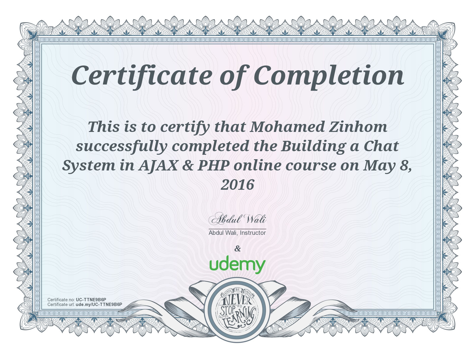 Certificate Of Completion Building Chat System in AJAX & PHP