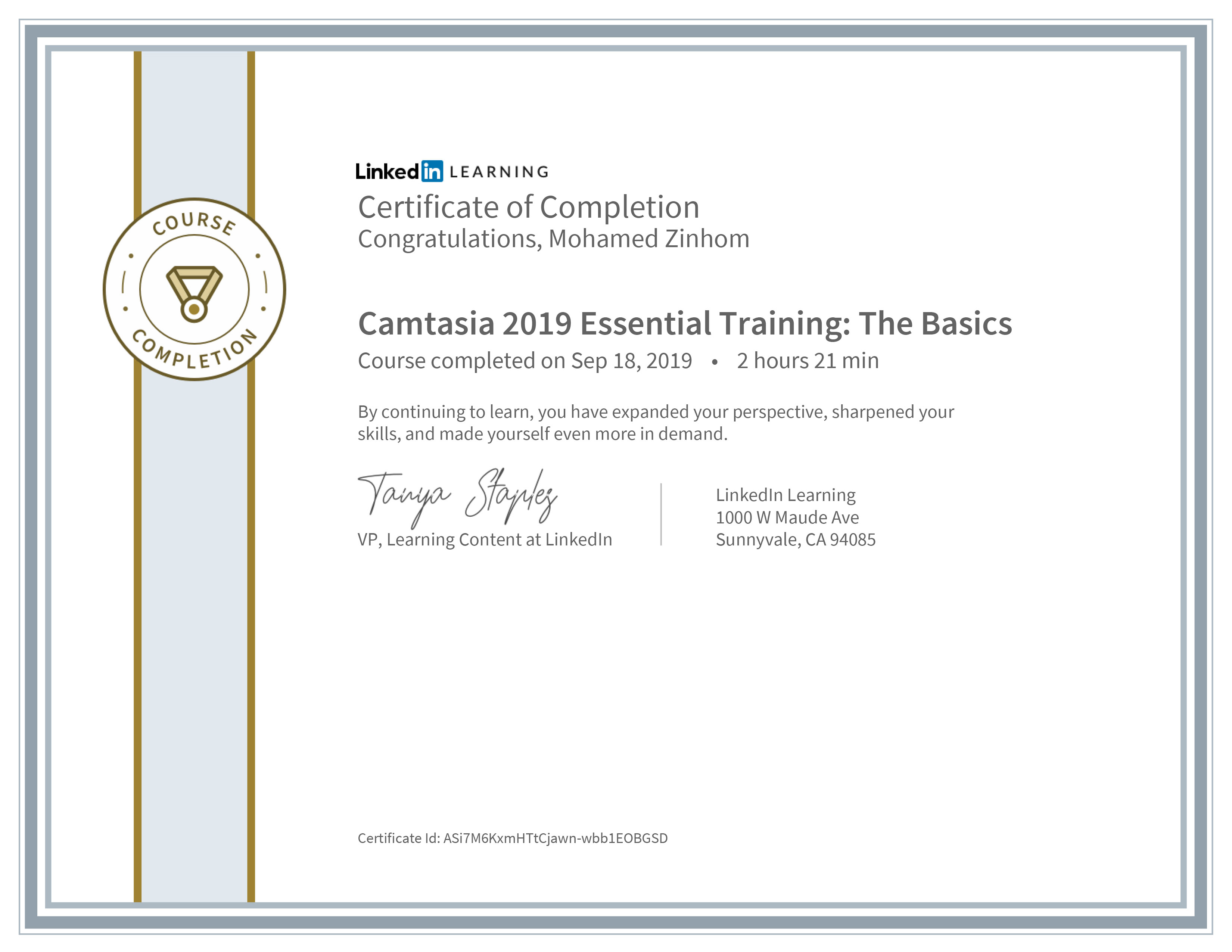 Certificate Of Completion Camtasia 2019 Essential Training The Basics