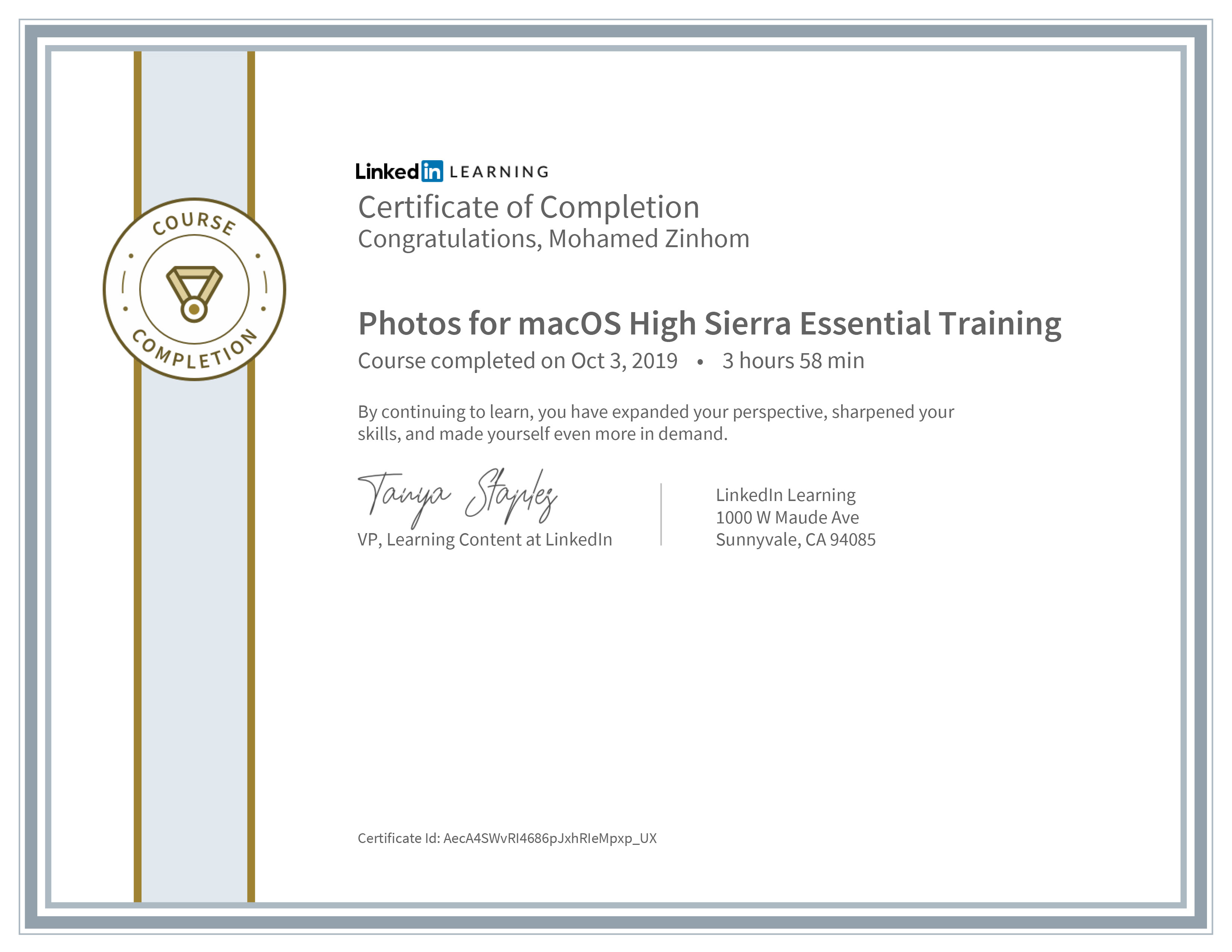 Certificate Of Completion Photos For Mac os High Sierra Essential Training