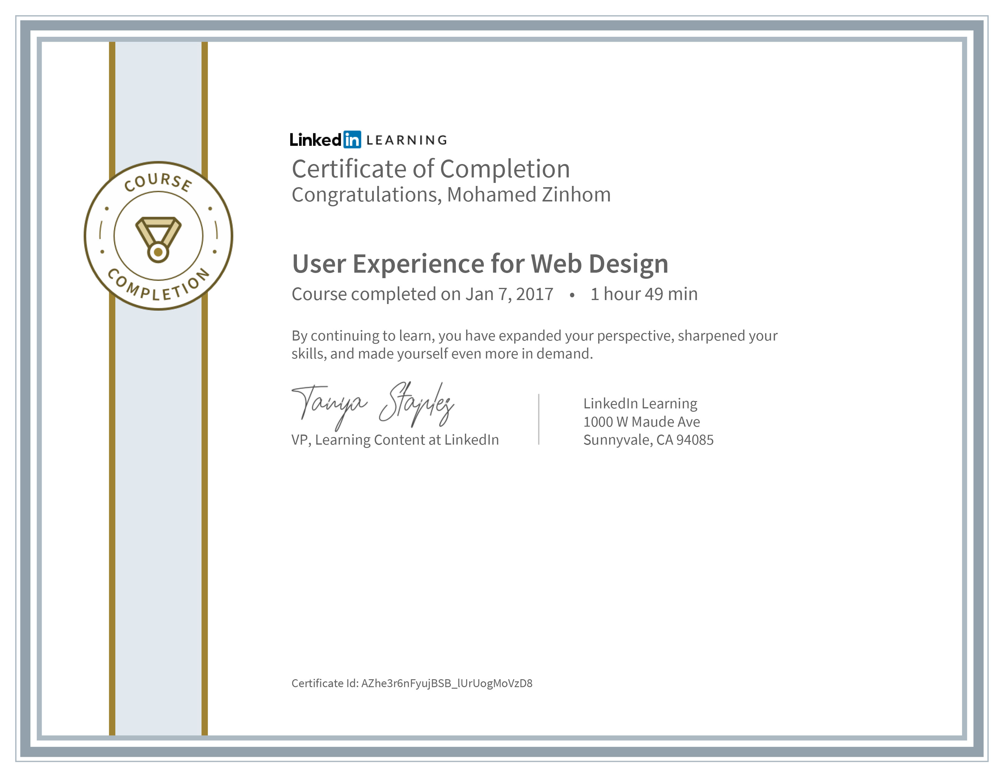 Certificate Of Completion User Experience For Web Design