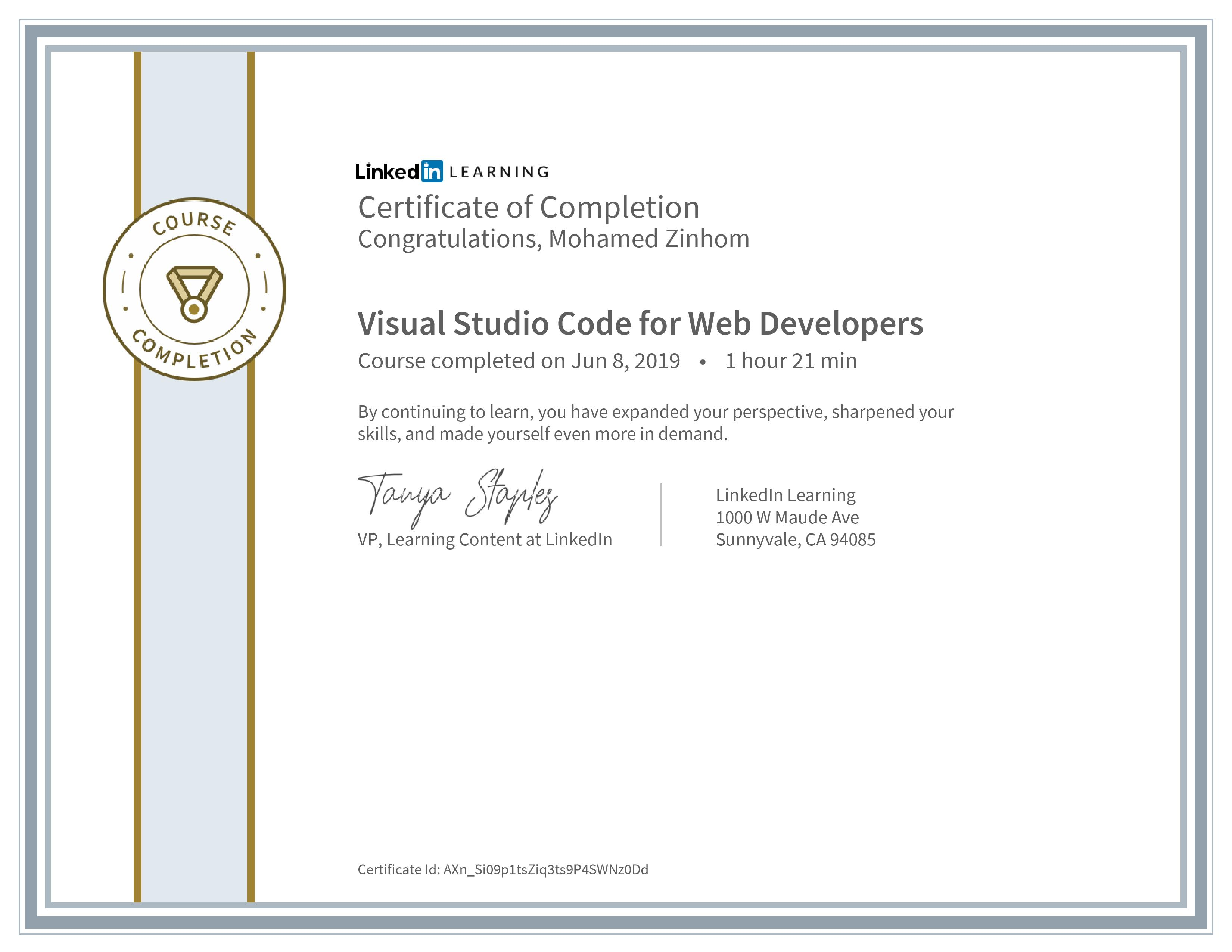 Certificate Of Completion Visual Studio Code For Web Developers