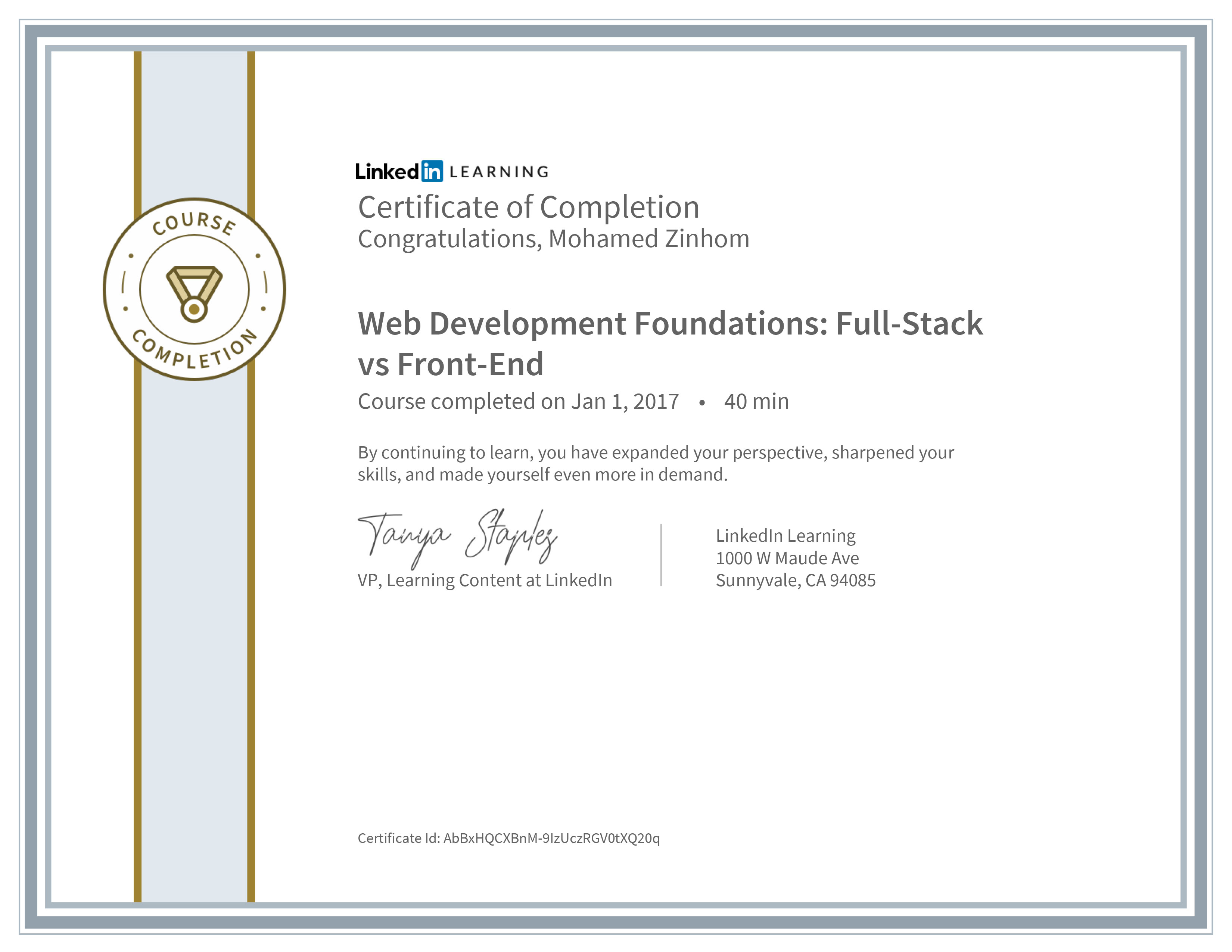 Certificate Of Completion Web Development Foundations Full Stack Vs Front End