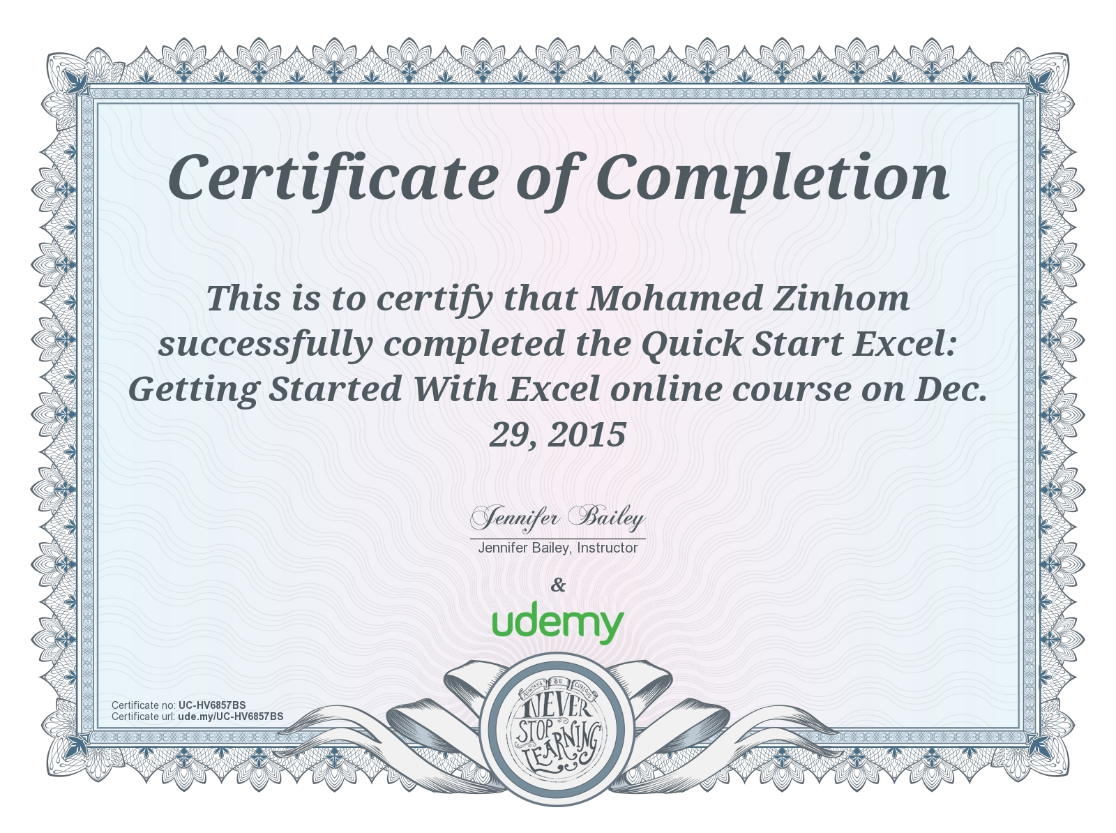 Certificate Of Completion Getting started with Exel